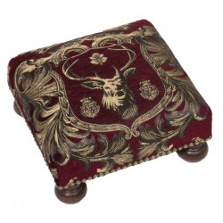 Regal Stag Red Tapestry Footstool