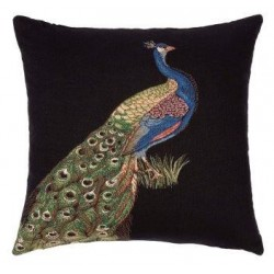 Peacock Tapestry Cushion-Left