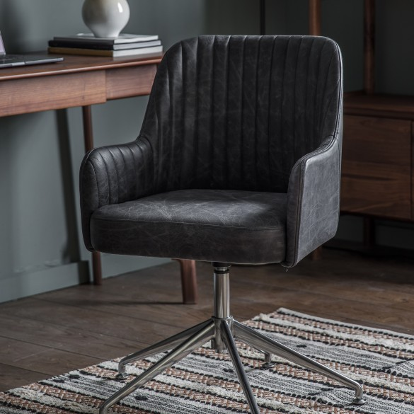 Curie Swivel Chair Antique Ebony