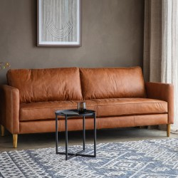 Churchill 2 Seater Vintage Brown Leather Sofa