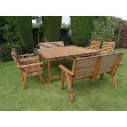 Harrogate Square Table with 4 Chairs and 2 x 2 Seat Benches