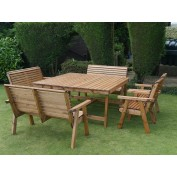 Harrogate Square Table with 2 Chairs and 2 x 2 Seat Benches