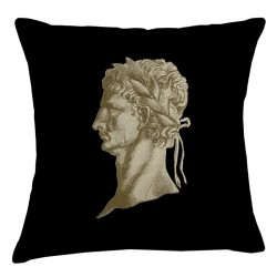 Roman Head Cushion - Black