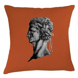 Roman Head Linen Cushion - Burnt Orange