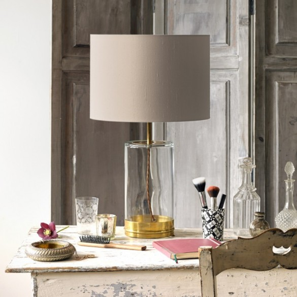 Regular Wisteria Table Lamp in Brass and Clear Glass