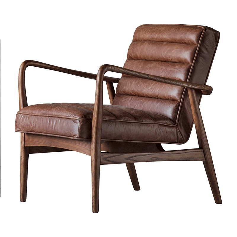 Datsun Armchair Vintage Brown Leather - Alison at Home