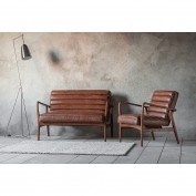 Datsun 2 Seater Sofa Vintage Brown Leather