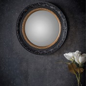 Langford Convex Mirror Black with Gold