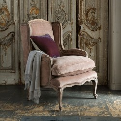 Louis French Armchair (Mink Velvet)