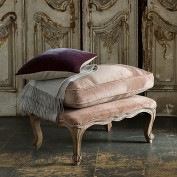 Filou French Footstool with Cushion (Mink Velvet)