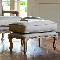 Filou French Footstool with Cushion (Dove Grey)