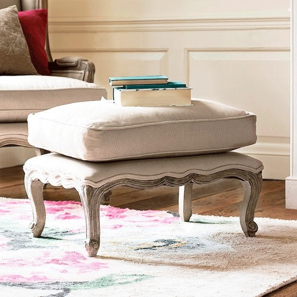 Filou French Footstool with Cushion (Putty)