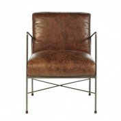 Hoxton Dining Chair-Brown Leather