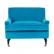 Large Plush Armchair-Teal Cotton