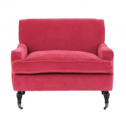 Large Plush Armchair-Pink Velvet