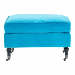 Plush Footstool -Teal Velvet