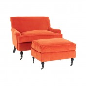 Plush Footstool-Orange Velvet