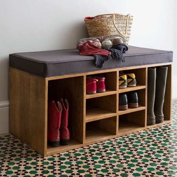 Shoes Storage Bench with Cushion (Ash Grey)