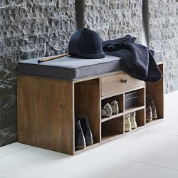 Shoes Storage Bench with Cushion (Ash Grey) 1 dwr