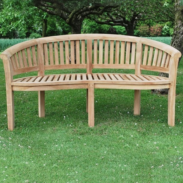 Bowood Curved Teak Bench