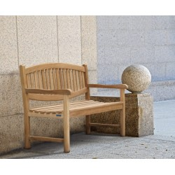 Oval Back Teak Bench - 3 Seater