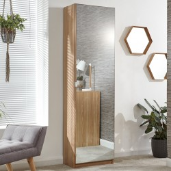 MIRRORED TALL SHOE CABINET