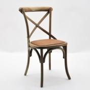 Pair of French Cross Back Dining Chairs