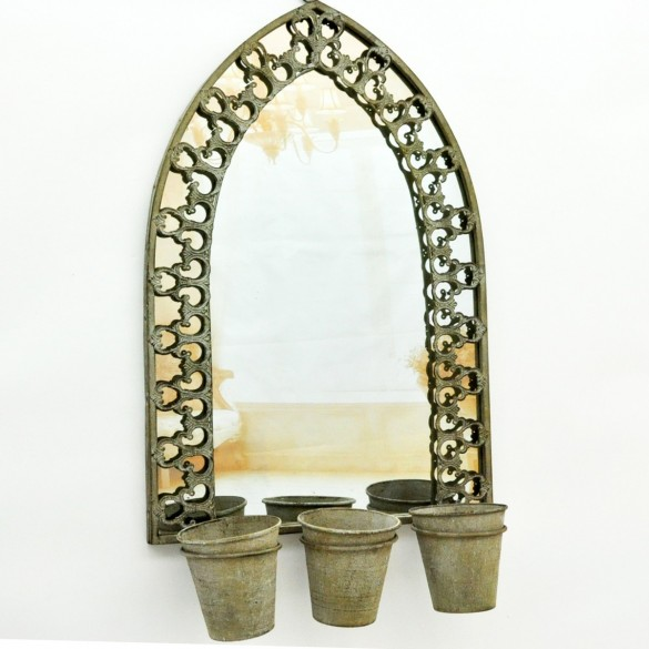 Rusty Wall Mirrors WIth 3 Plant Pots