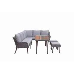 Danielle Corner Sofa With Dining Table & 2 Ottomans