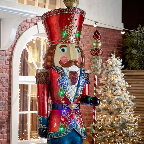 Luka the 8ft Multi Coloured LED Musical Nutcracker